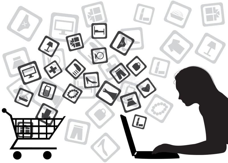 Het winkelen van Internet royalty-vrije illustratie