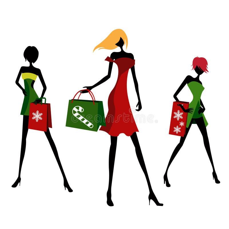 Het winkelen van Kerstmis vector illustratie