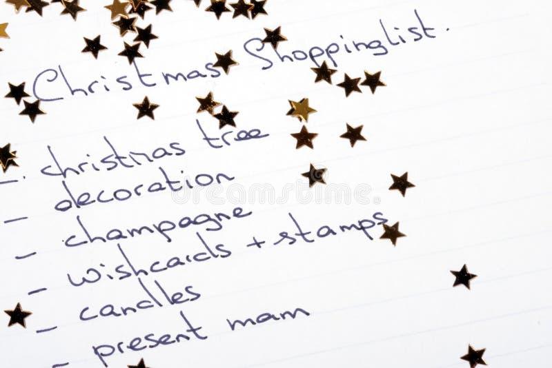 Het winkelen van Kerstmis lijst royalty-vrije stock foto's