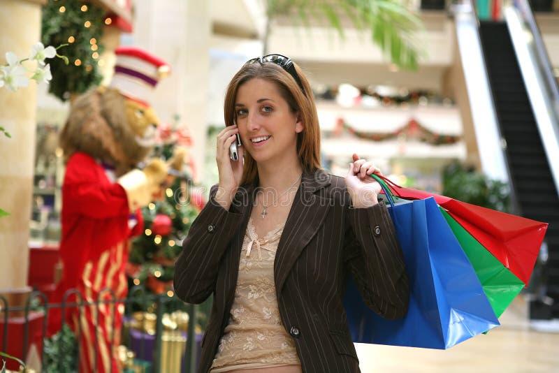 Het Winkelen van Kerstmis van de vrouw stock foto's