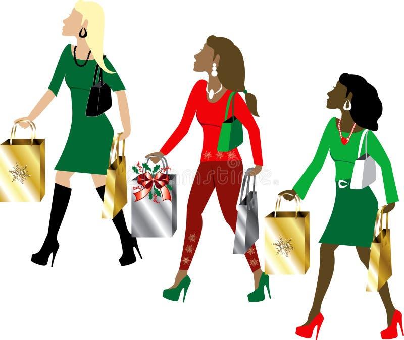 Het Winkelen van Kerstmis van vrouwen vector illustratie