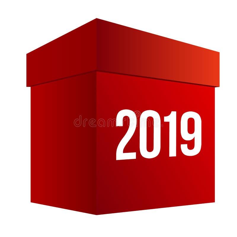 Het winkelen van het nieuwjaar Grote rode doos vector illustratie