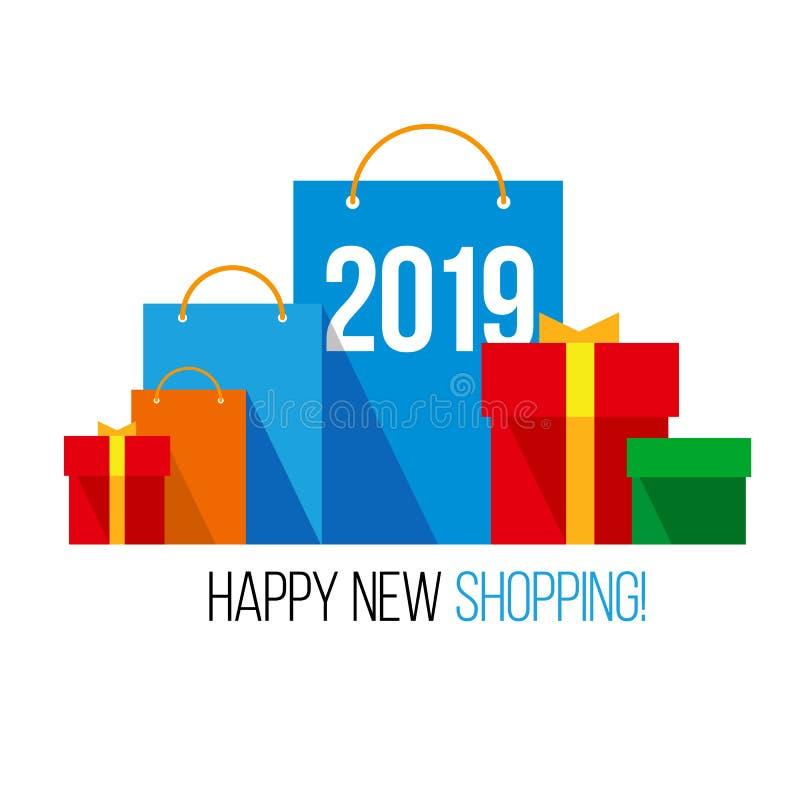 Het winkelen van het nieuwjaar Reeks vlakke zakken stock illustratie