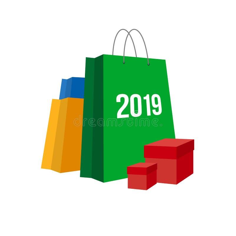 Het winkelen van het nieuwjaar Reeks zakken stock illustratie