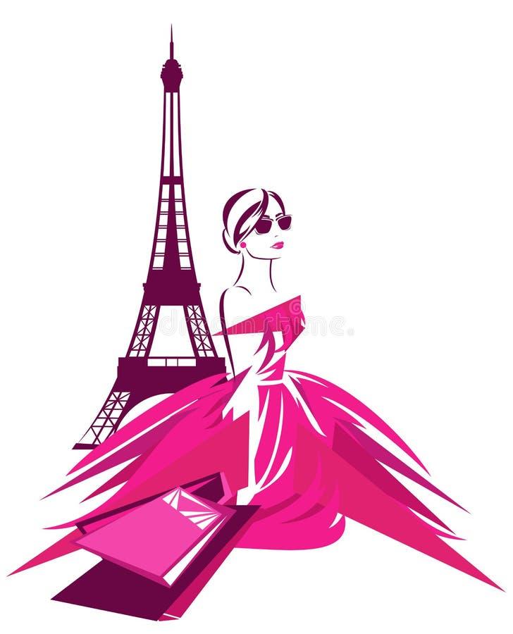 Het winkelen van Parijs stock illustratie