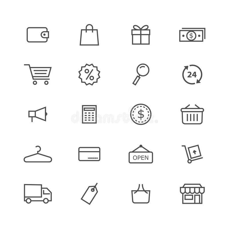 Het winkelen vector de reeks zwarte slag van de pictogrammenvoorraad op witte achtergrond royalty-vrije illustratie