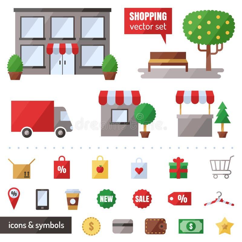 Het winkelen vectorreeks Geplaatste pictogrammen Modern vlak ontwerp vector illustratie