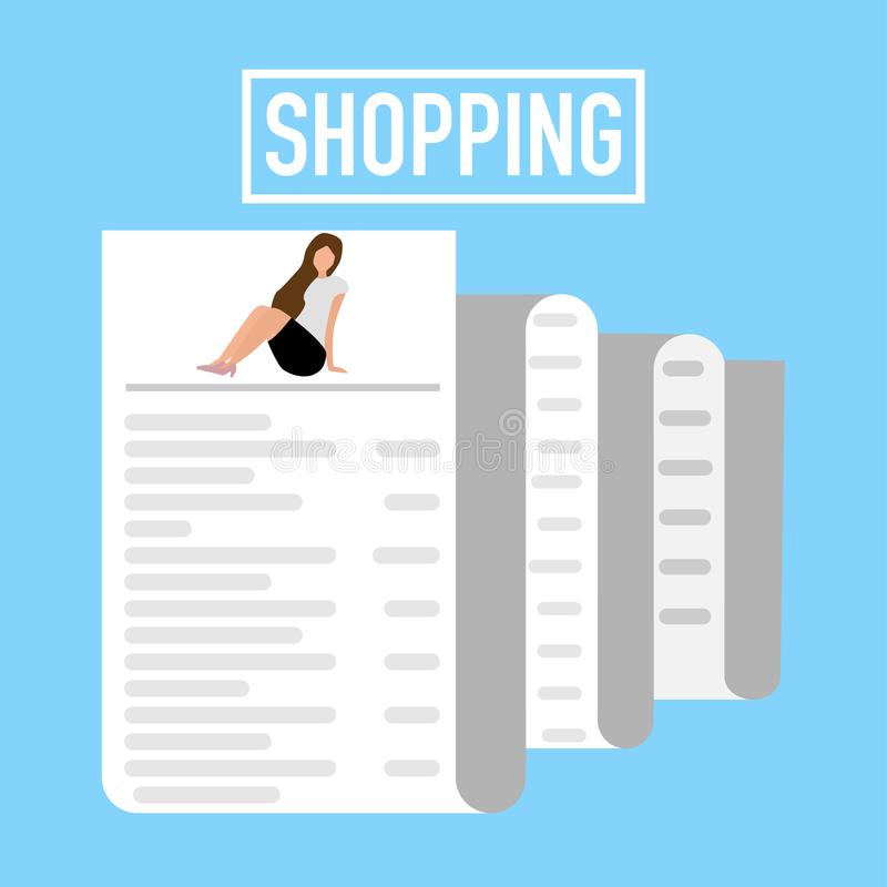 Het winkelen voor blauwe achtergrond van het dame de lange ontvangstbewijs vector illustratie