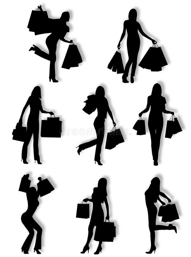Het winkelen vrouwensilhouetten stock illustratie