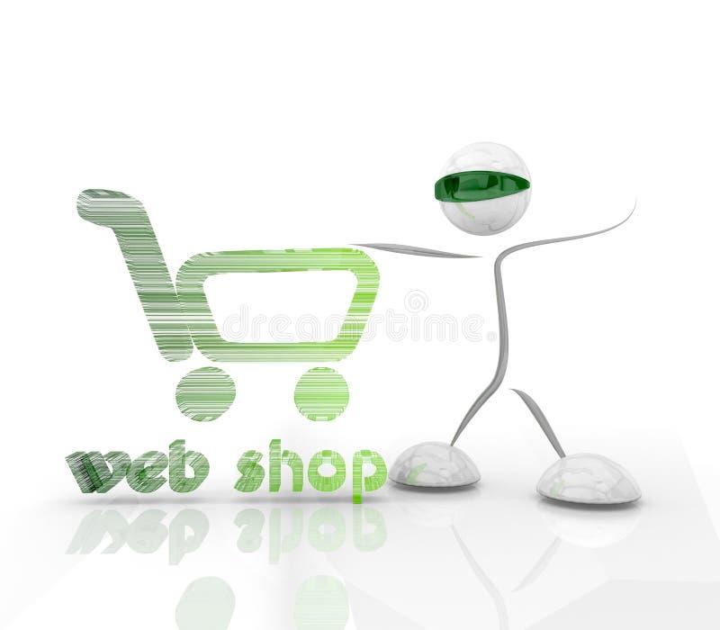 Het winkelen webshop hologrampictogram met 3d karakter vector illustratie