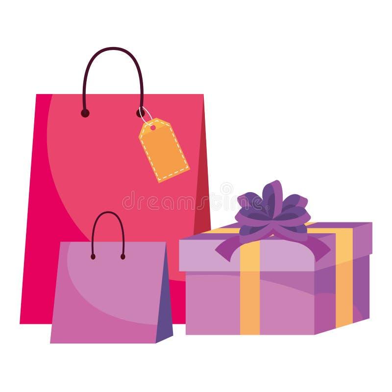 Het winkelen zak en giftpictogrammen royalty-vrije illustratie