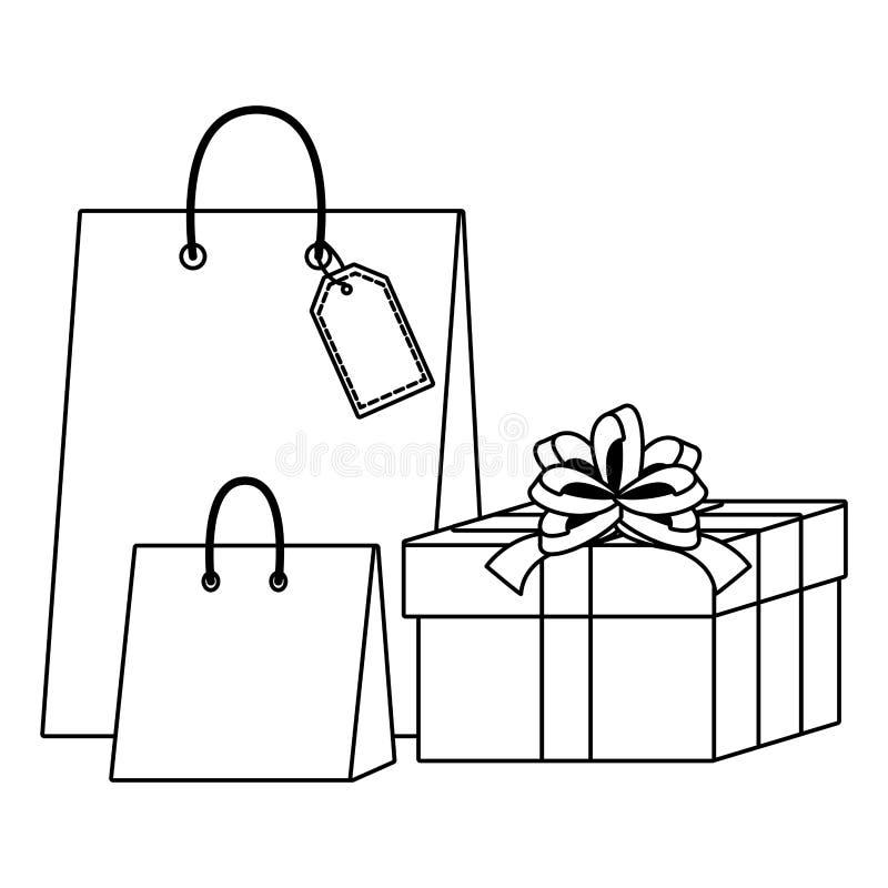 Het winkelen zak en giftpictogrammen vector illustratie