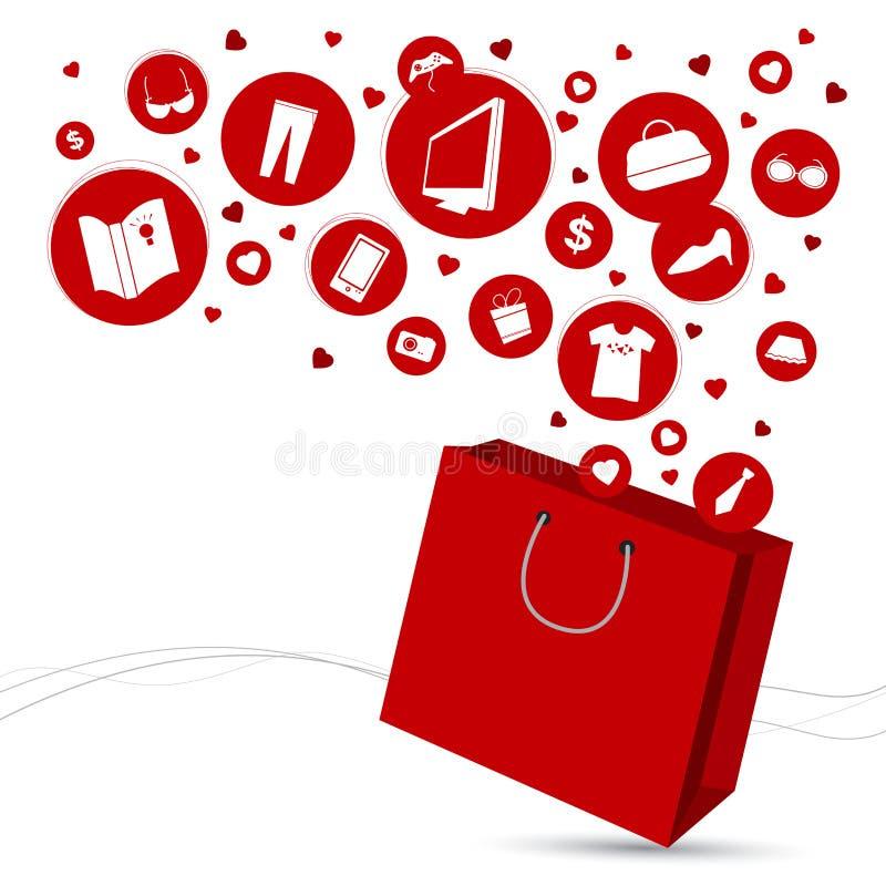 Het winkelen zak en manierpictogram royalty-vrije illustratie