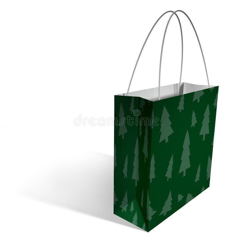 Het winkelen zak - Kerstmisbomen stock illustratie