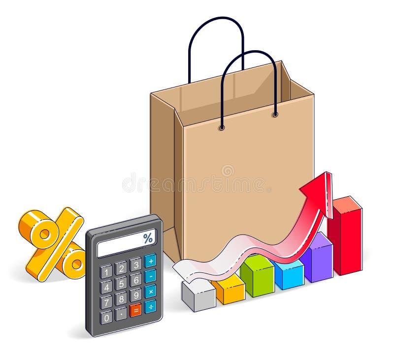 Het winkelen zak met calculator en de groeigrafiek stats en percenten, royalty-vrije illustratie