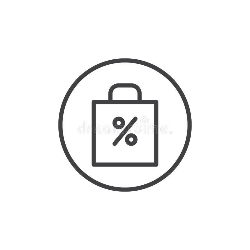 Het winkelen zak met de verkoop, percenten, het pictogram van de kortingslijn royalty-vrije illustratie