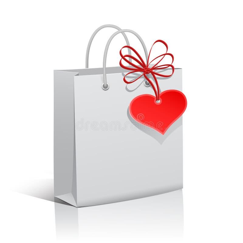Het winkelen zak met hartmarkering royalty-vrije illustratie