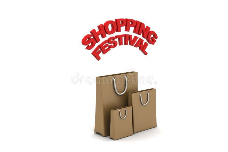 Het winkelen zak met het winkelen festivaltekst vector illustratie