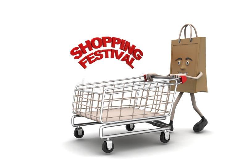Het winkelen zak met het winkelen festivaltekst royalty-vrije illustratie
