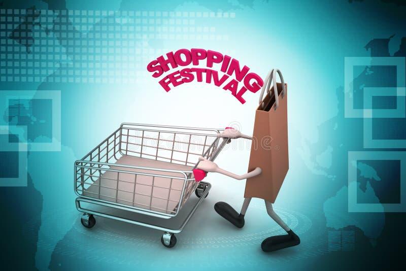 Het winkelen zak met het winkelen festivaltekst stock illustratie