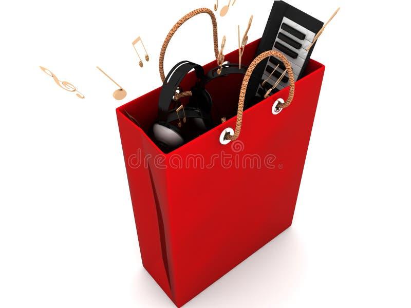 Het winkelen zak met muzikale apparatuur royalty-vrije illustratie