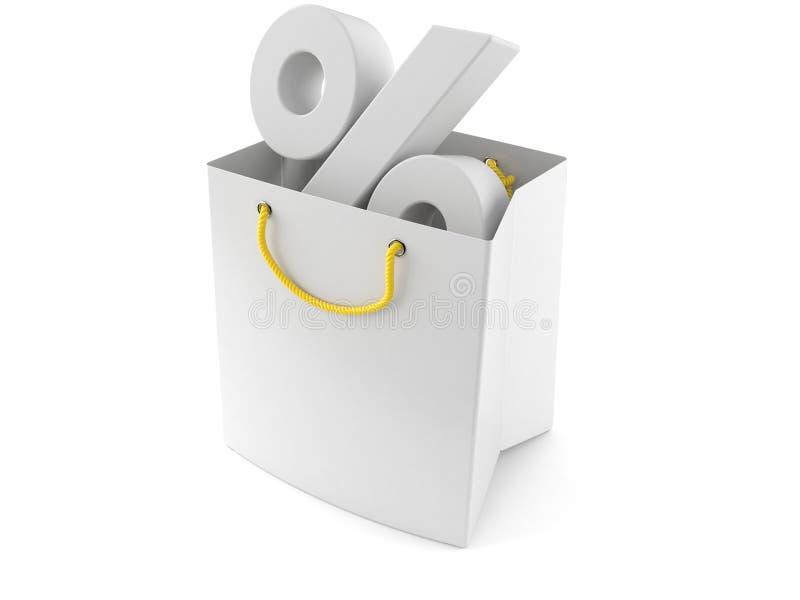 Het winkelen zak met percenten royalty-vrije illustratie