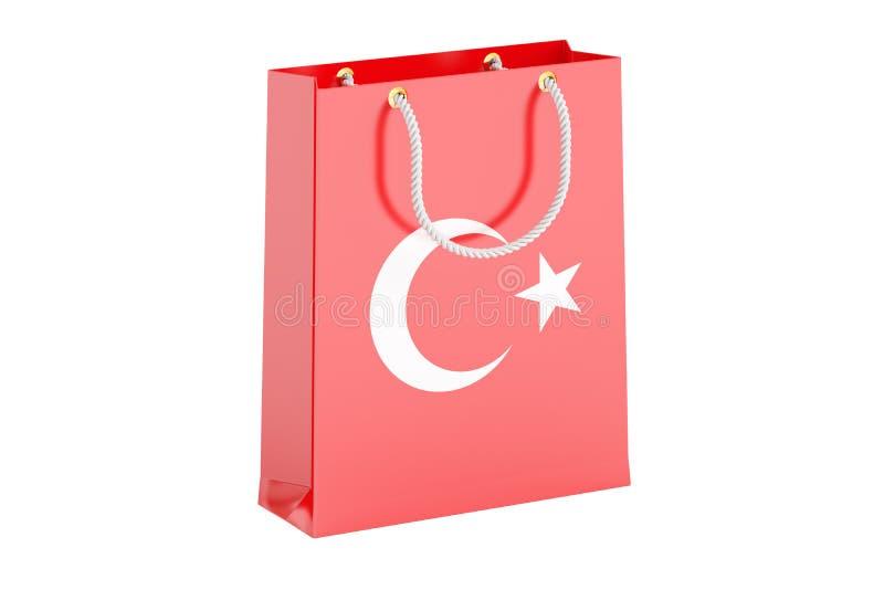 Het winkelen zak met Turkse vlag, het 3D teruggeven stock illustratie