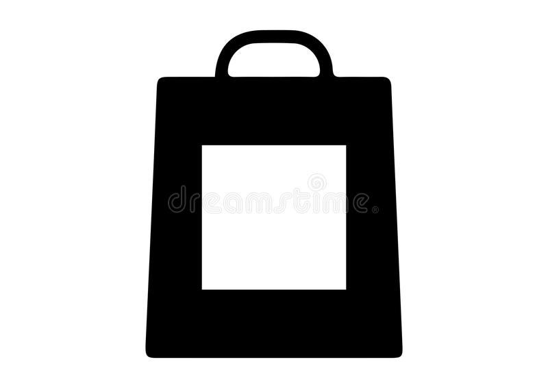 Het winkelen zak met vierkante pictogrammen royalty-vrije illustratie