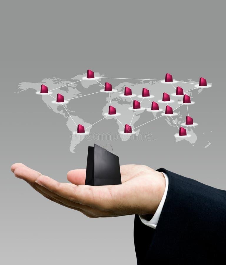 Het winkelen zak op hand, de marketing van het Netwerk zaken vector illustratie
