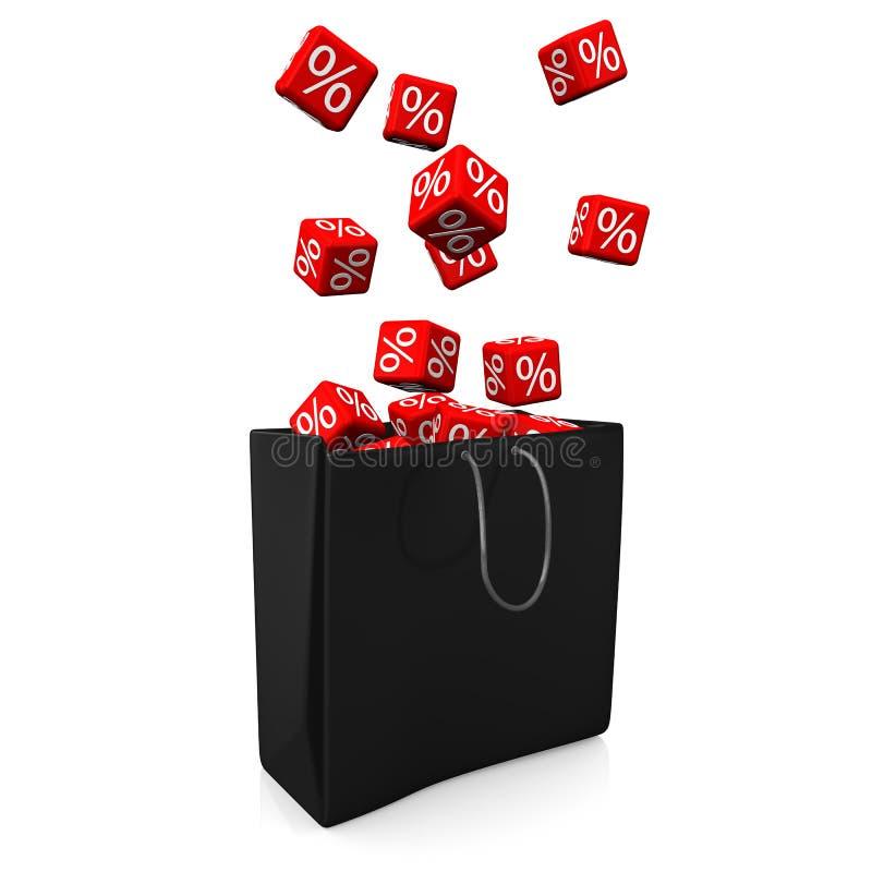 Het winkelen Zak Rode Kubussen Percents stock illustratie