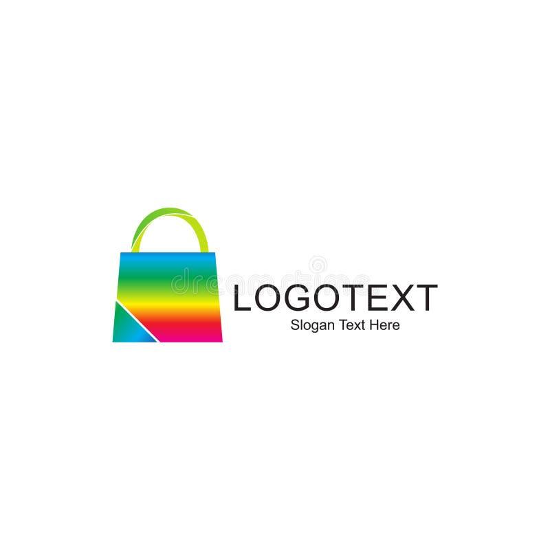 Het winkelen zakembleem kleurrijk voor online winkelend bedrijf stock afbeelding