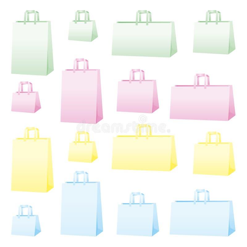 Het winkelen zakken in 4 kleuren stock illustratie