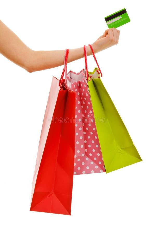 Het winkelen zakken en creditcard royalty-vrije stock afbeelding