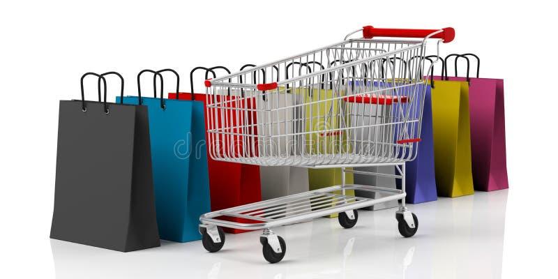 Het winkelen zakken en supermarktkar op witte achtergrond wordt geïsoleerd die 3D Illustratie vector illustratie