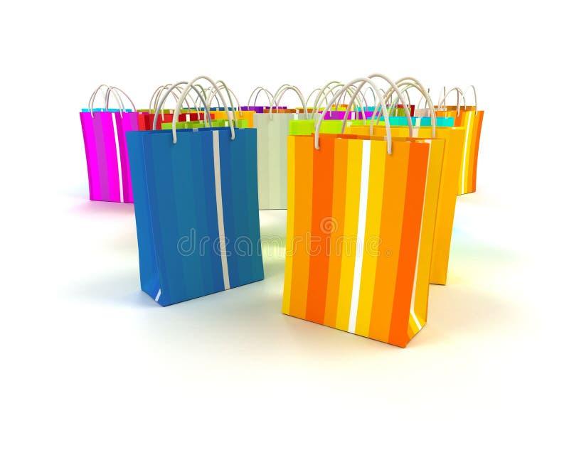 Het winkelen zakken in kleuren vector illustratie
