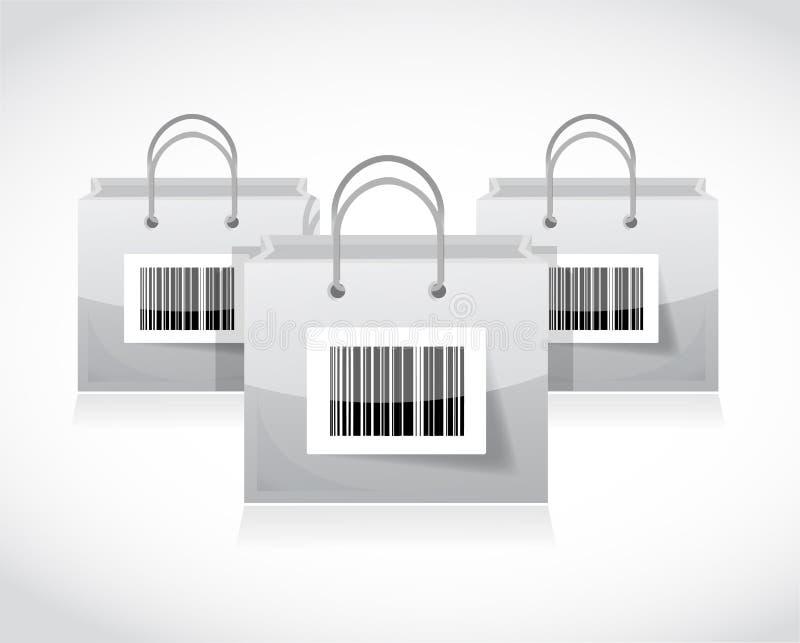 Het winkelen zakken met streepjescode worden geplaatst die stock illustratie