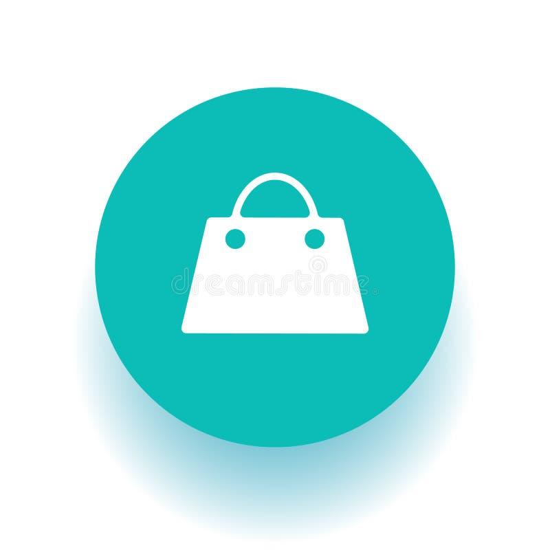 Het winkelen zakpictogram op groen pictogram royalty-vrije illustratie