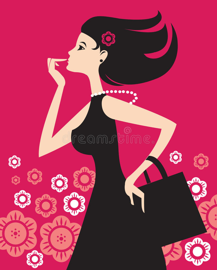 Het winkelende meisje van de manier stock illustratie