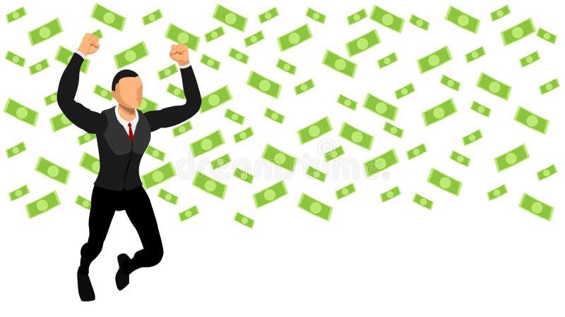 Het winnen Uitdrukking het vieren van een zakenman krijgt een regen van dollars stock illustratie