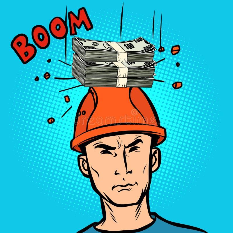 Het winnende pot fijne concept, geld viel op zijn hoofd vector illustratie