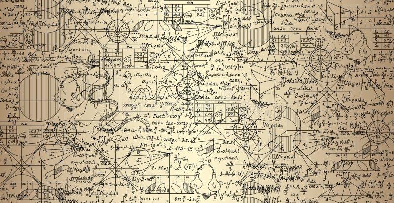 Het wiskundige vector naadloze patroon met percelen en formules schuifelde samen, met de hand geschreven op het oude document vector illustratie