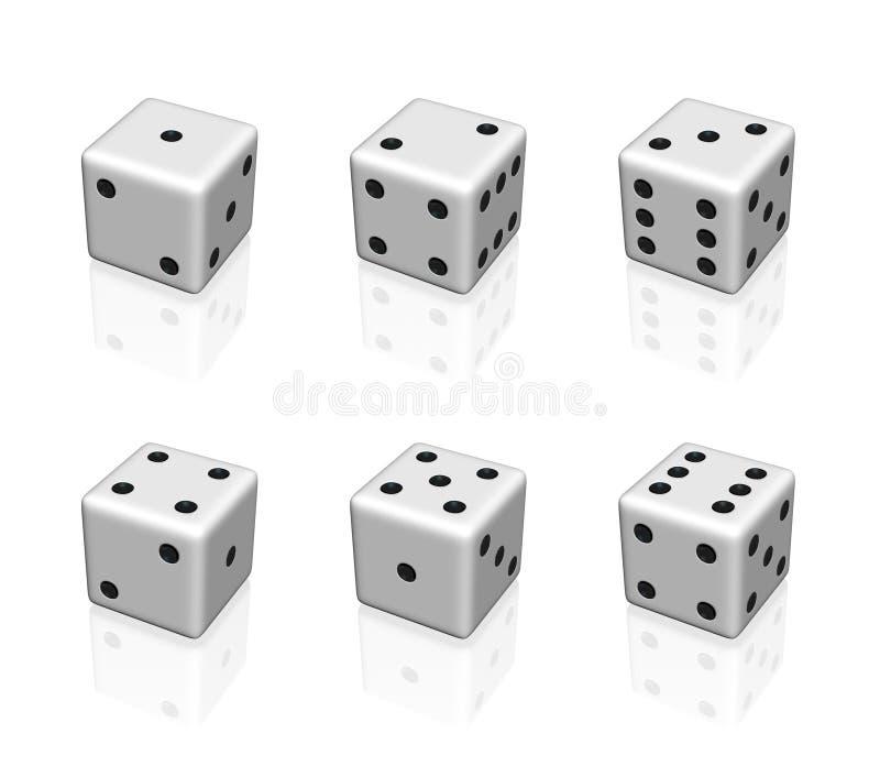 Het wit dobbelt reeks stock illustratie