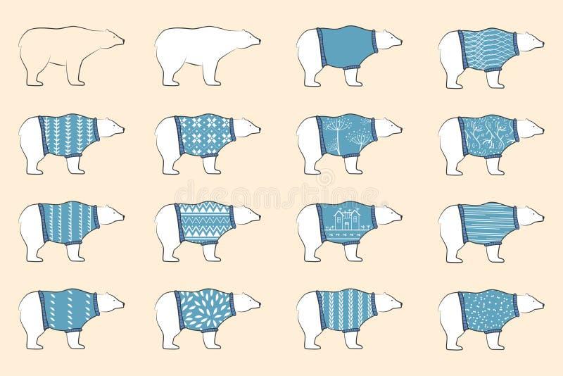 Het wit draagt blauwe pollovers van de slijtagewol Geplaatste ijsberen Noordse beren in sier warme sweaters Skandinavisch ontwerp royalty-vrije illustratie