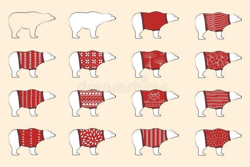 Het wit draagt rode pollovers van de slijtagewol Geplaatste ijsberen Noordse beren in sier warme sweaters Skandinavisch ontwerp royalty-vrije illustratie