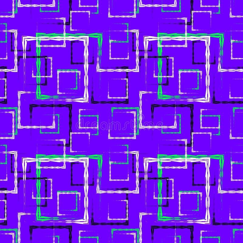 Het wit en het blauw sneden vierkanten en zwarte kaders voor een abstract purper achtergrond of een patroon royalty-vrije illustratie