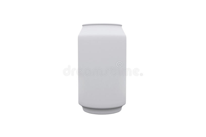 Het wit kan en witte achtergrond stock foto