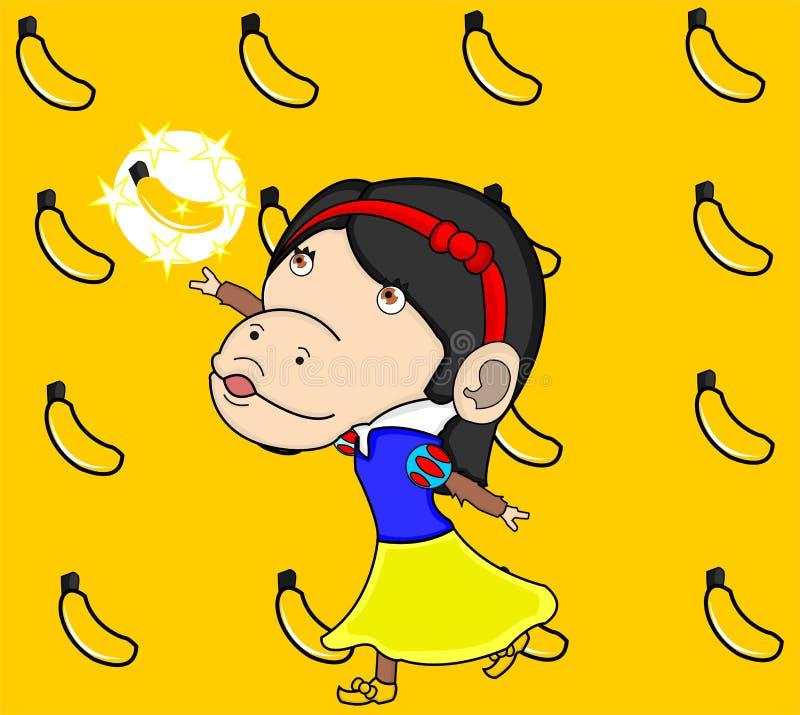 Het wit van de aapsneeuw krijgt speciale banaan stock afbeeldingen