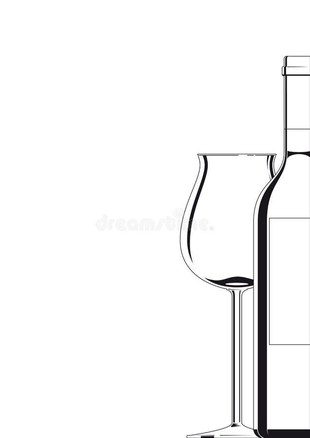 Het wit van de fles en van het Glas op wit vector illustratie