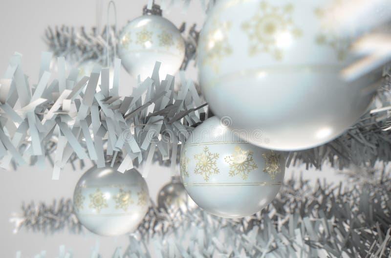 Het Wit van het Kerstmisdecor royalty-vrije illustratie
