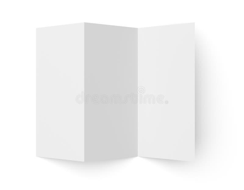 Het Witboekbrochure van pamflet lege trifold stock illustratie